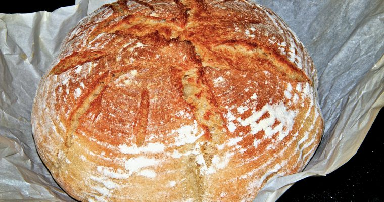 No Knead Crusty Round Bread