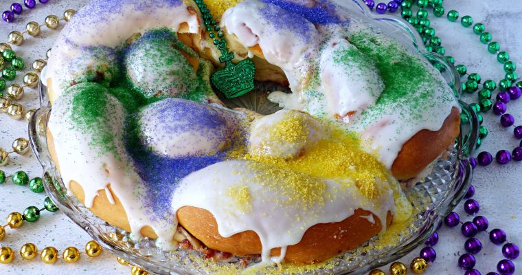 King Cake with Cream Cheese and Strawberry Jam Filling (Video)