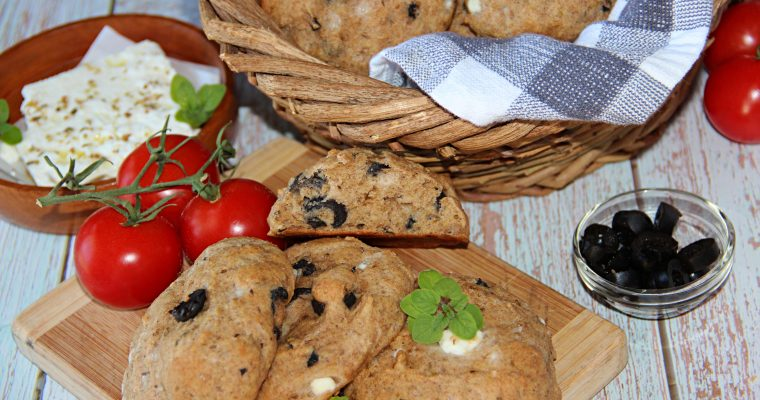 Easy Soda Bread Rolls With Olives and Feta
