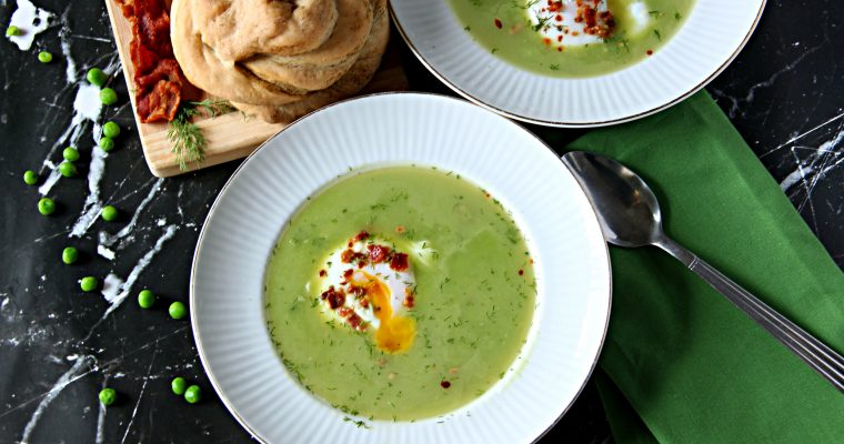 Green Pea and Asparagus Soup With Poached Egg (Gluten Free)