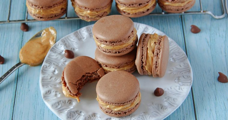 Chocolate Macarons with Peanut Butter Filling (Step by Step)