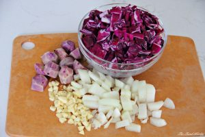 Red Cabbage Soup with Parmesan and Caraway Seed Crackers