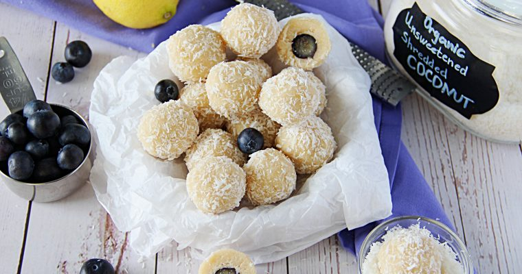 Coconut Bonbons With Whole Blueberry Center(Vegan, Gluten Free)