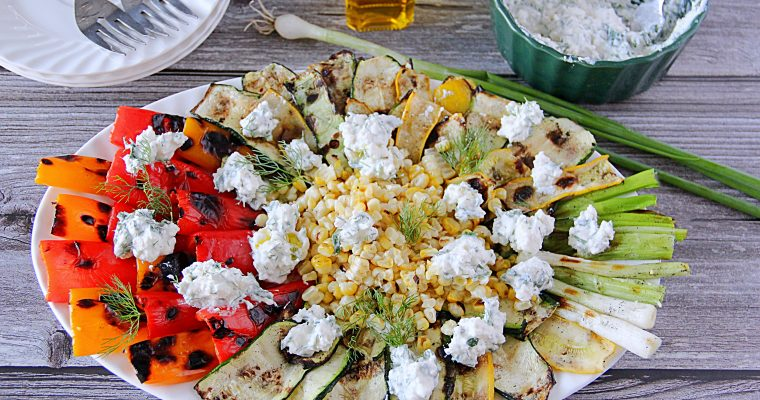 Grilled Summer Vegetables with Herbed Cheese