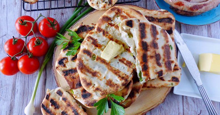 Grilled Flatbread with Green Onion and Feta Filling (Video)