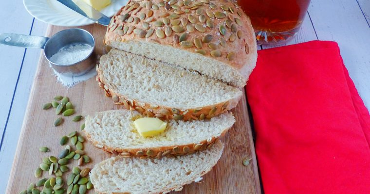 Beer and Caramelized Onion Bread with Pumpkin Seeds