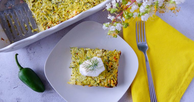 Zucchini Feta and Dill Bake (Low Carb, Gluten Free)