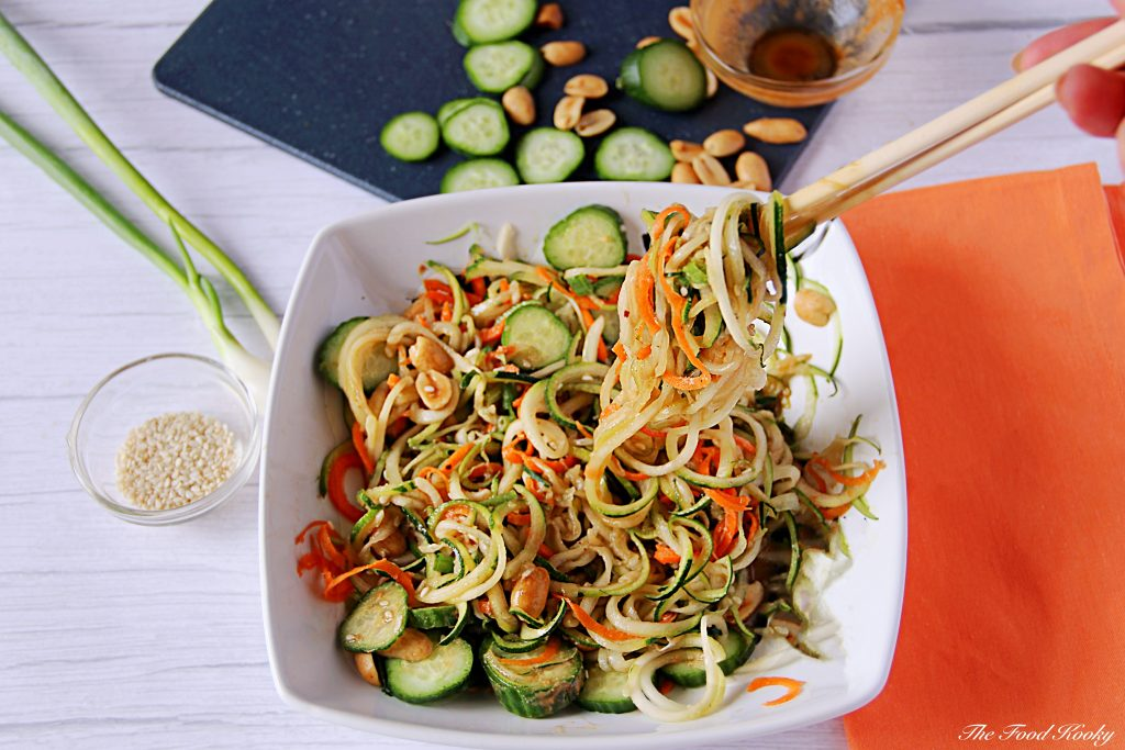 Raw zucchini noodles with peanut sauce