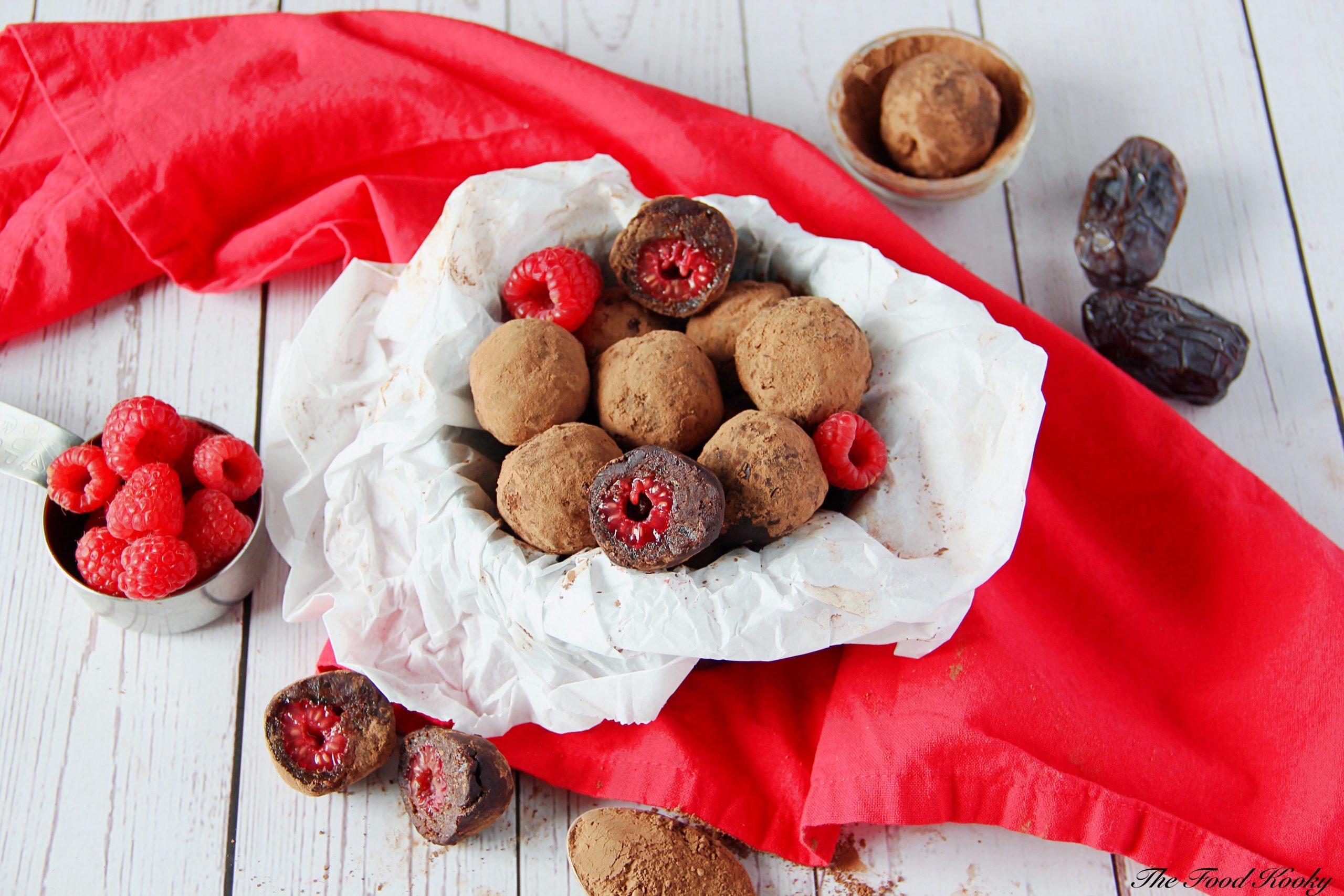 Chocolate Raspberry Truffles (Vegan, Paleo, Gluten Free)