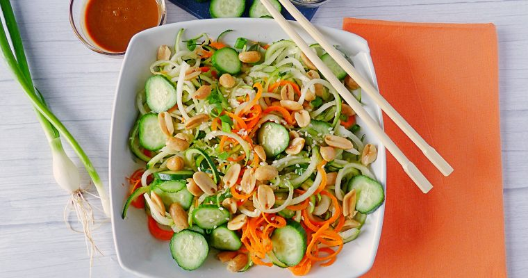 Raw Zucchini Noodles With Peanut Sauce (Low Carb and Vegan)