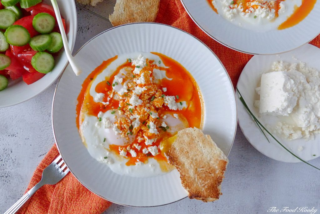 Poached Eggs with Yogurt and Smokey Red Pepper Sauce