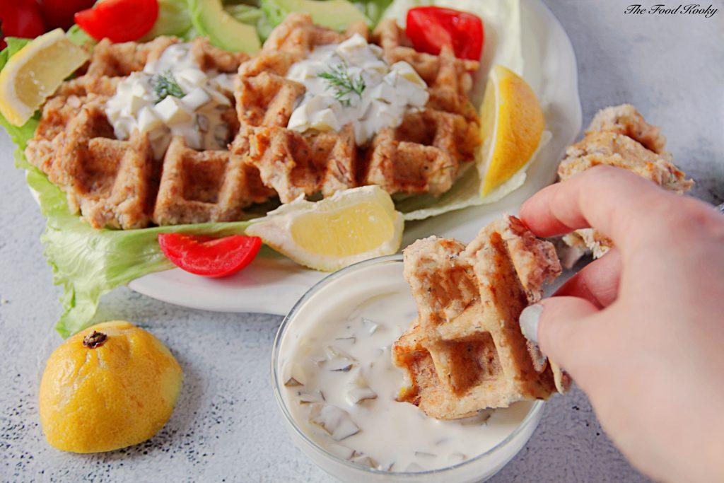 Waffles with Canned Tuna and Yogurt Tartar Sauce