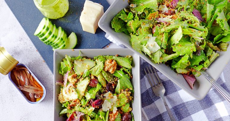 Mediterranean Salad With Anchovy Breadcrumbs and Walnut Dressing