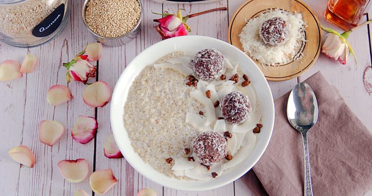 Make Ahead Breakfast Bowl with Quinoa and Chocolate Coconut Balls
