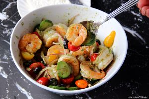 veggies and shrimp combined with the dressing