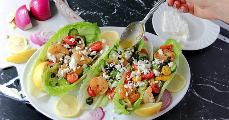 Shrimp Lettuce Cups with Vegetables and Feta (Gluten Free)