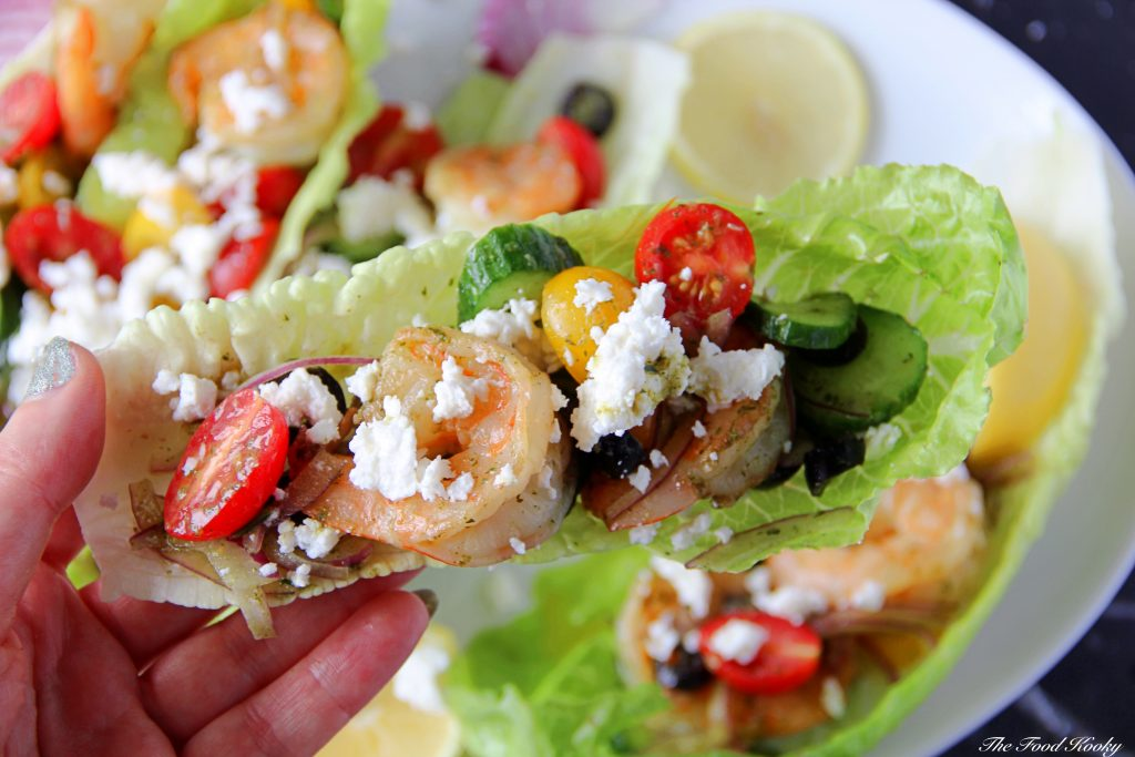 Shrimp Lettuce Cups with Vegetables and Feta