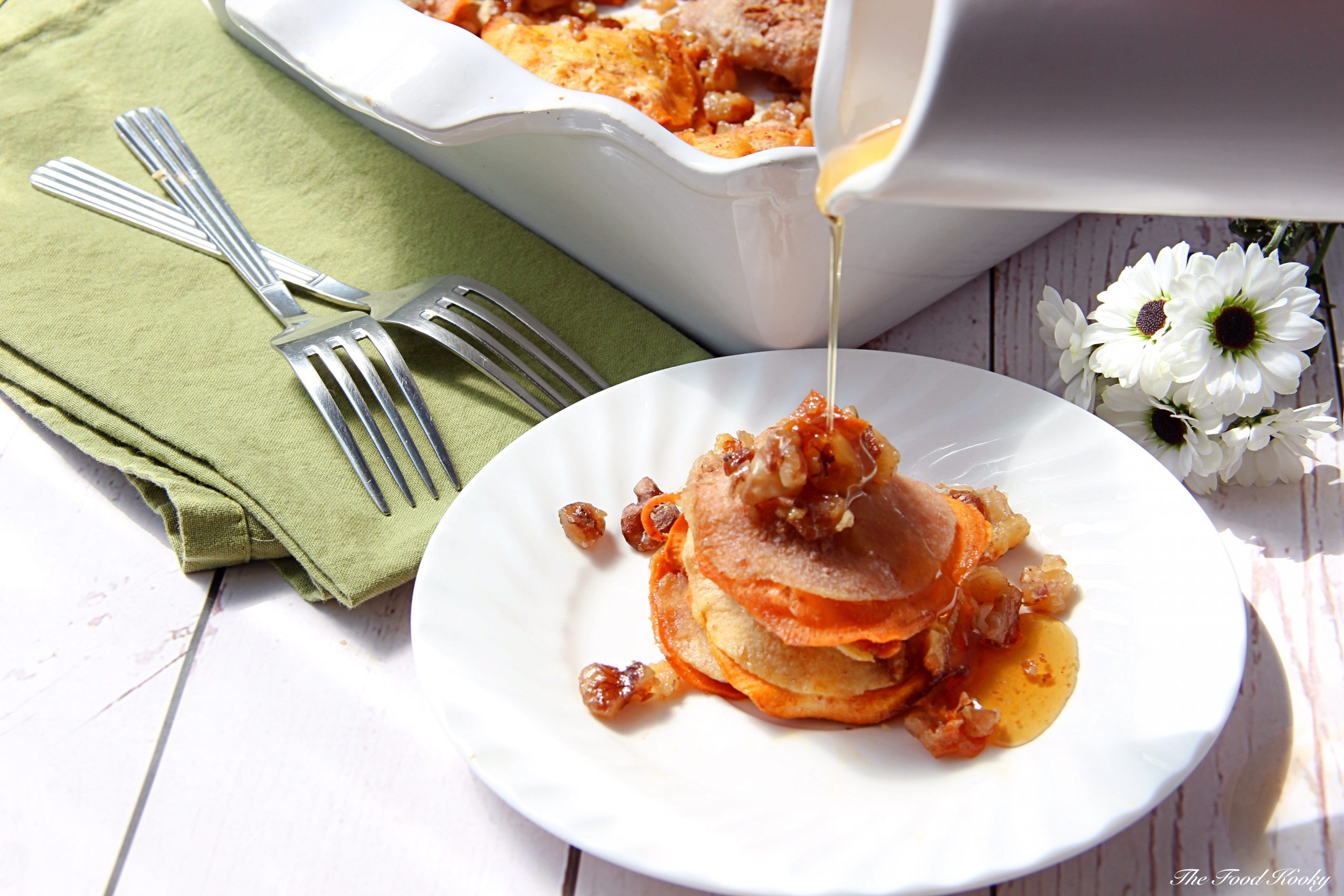 Sweet Potato Apple and Pear Stacks with Cinnamon Syrup